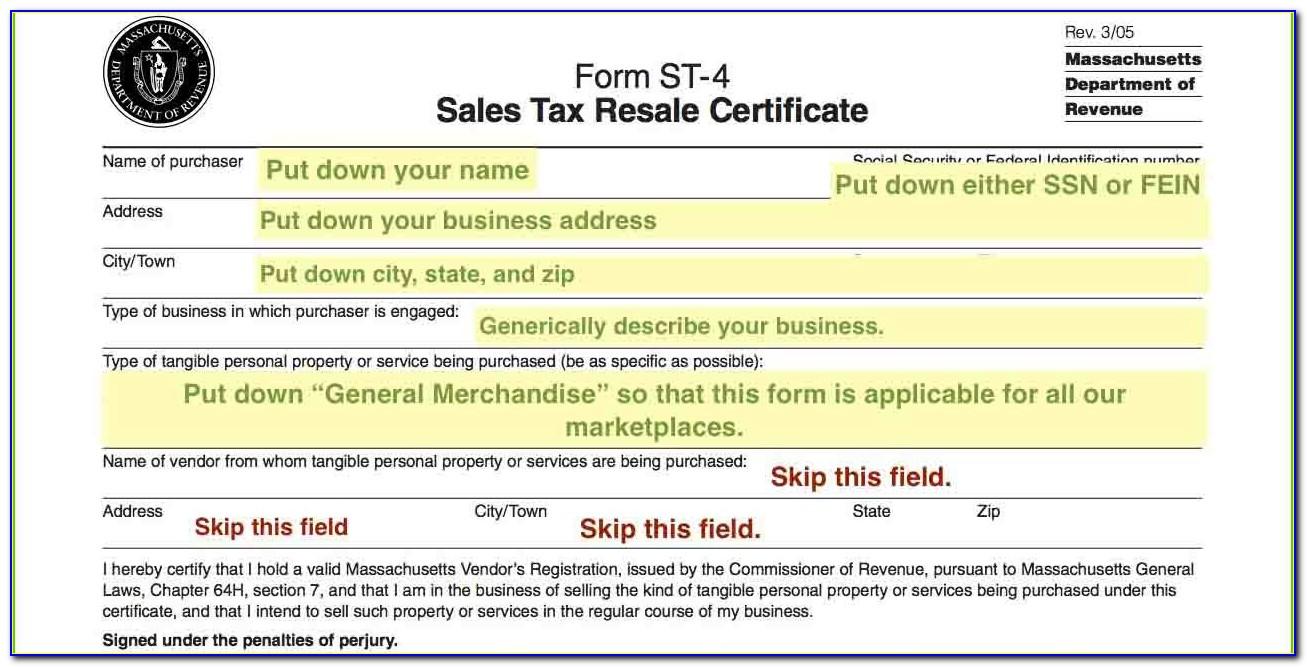 Massachusetts Resale Certificate St 12
