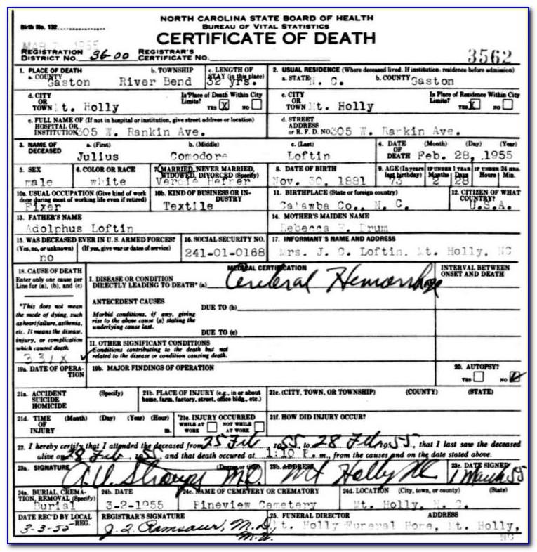 Mecklenburg County Vital Records Birth Certificate