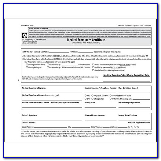 Medical Examiners Certificate Dmv