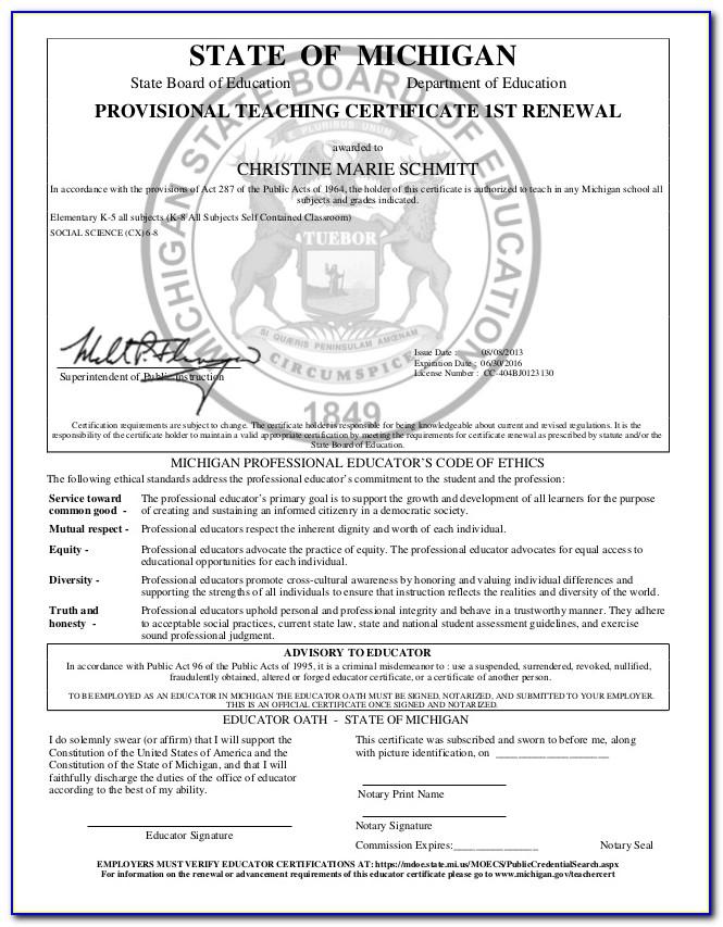 Michigan Teacher Certification Renewal Cost