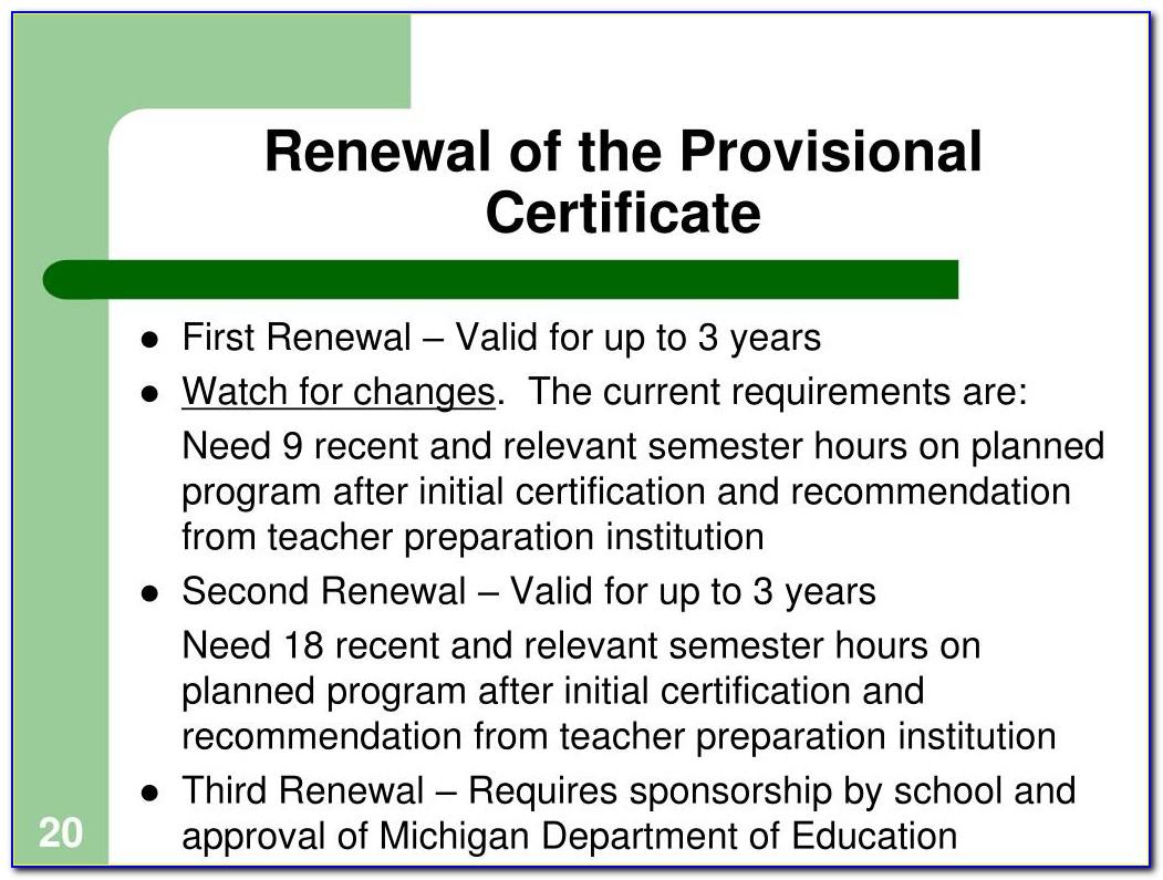 Michigan Teacher Certification Renewal Extension