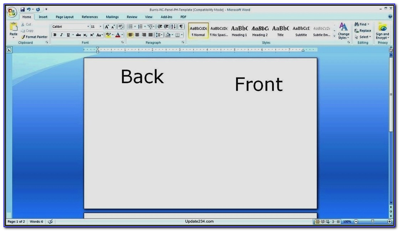 Microsoft Word Birthday Card Template Blank