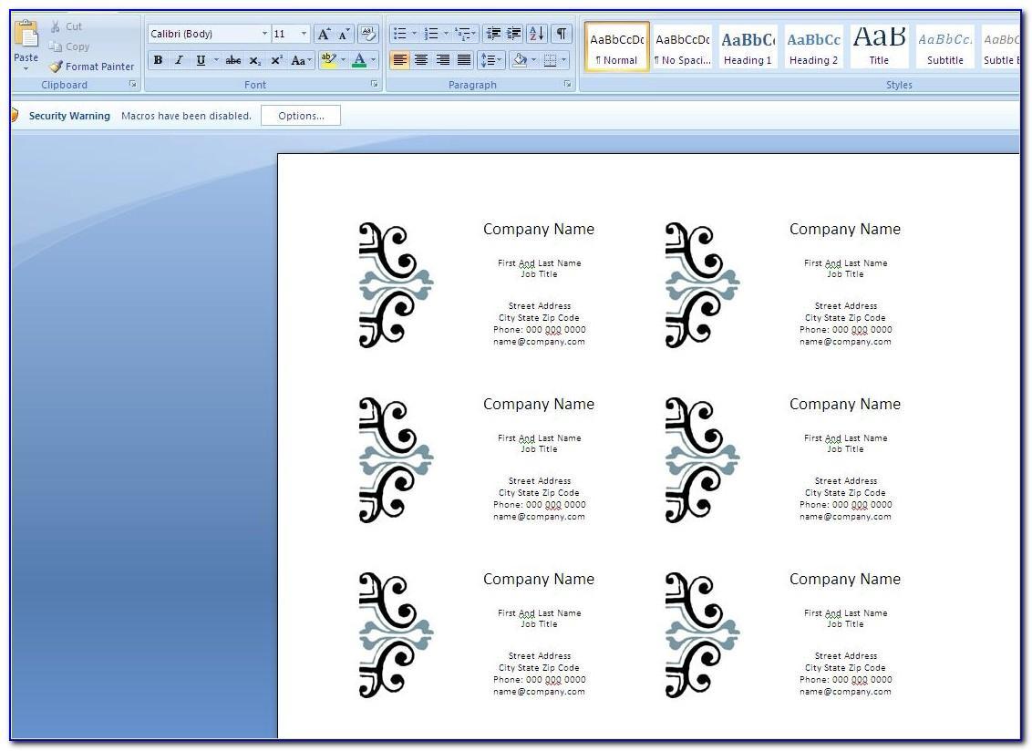 Microsoft Word Flash Card Template