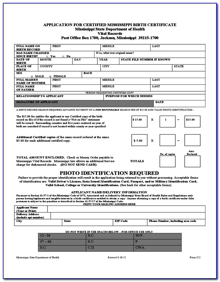 Mississippi Birth Certificate Application Form