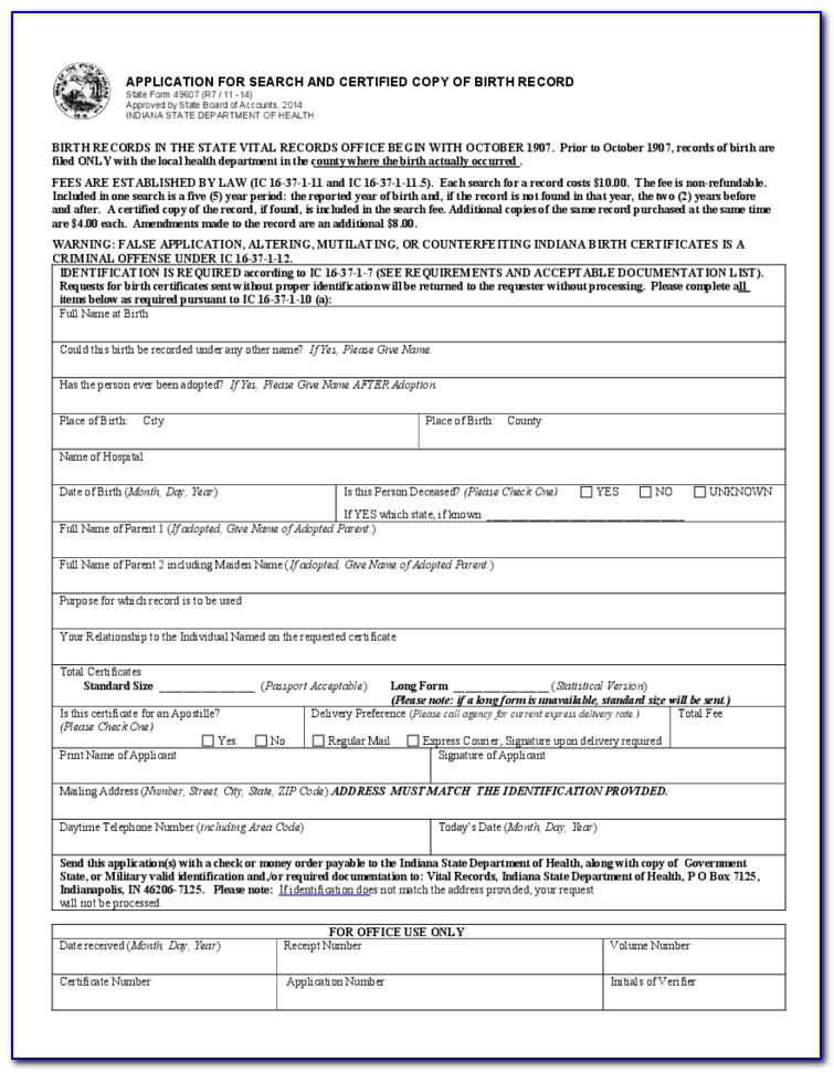 Mississippi Birth Certificate Application