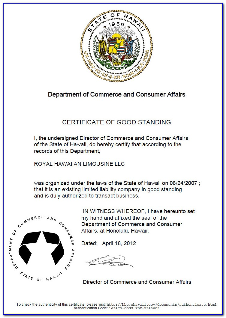 Missouri Business Certificate Of Good Standing