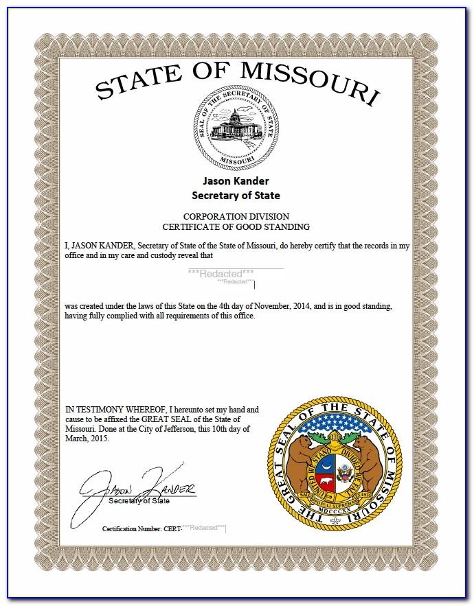 Missouri Certificate Of Good Standing Attorney