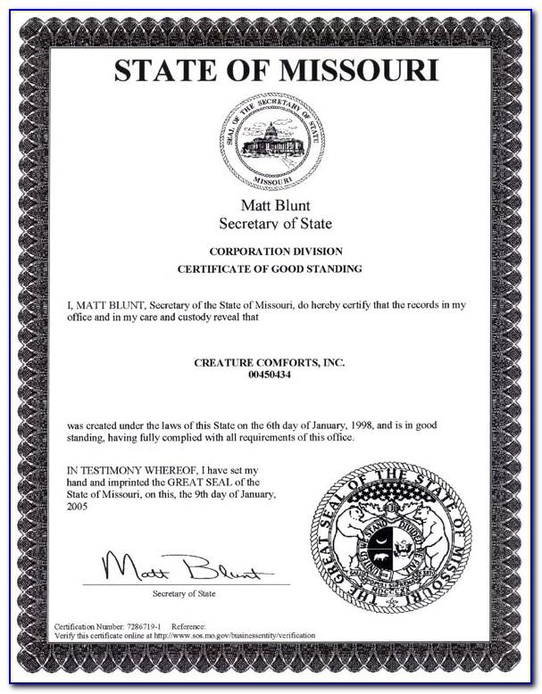 Missouri Certificate Of Good Standing Bar