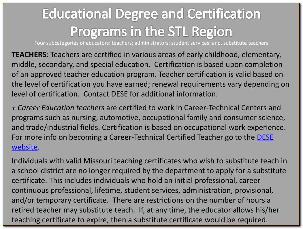 Missouri State Substitute Teacher Certification