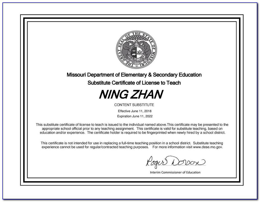 Missouri Substitute Teacher Certificate