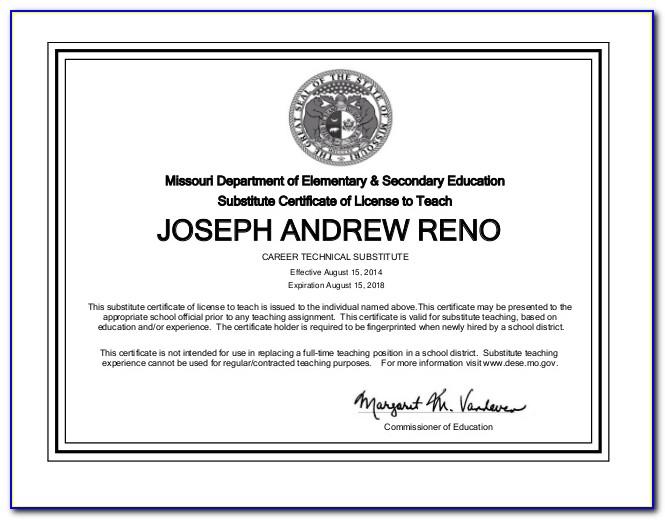 Missouri Substitute Teaching Certificate Application