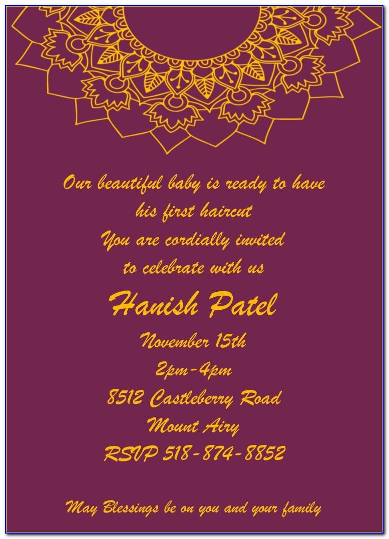Mundan Ceremony Invitation Card Matter In Gujarati