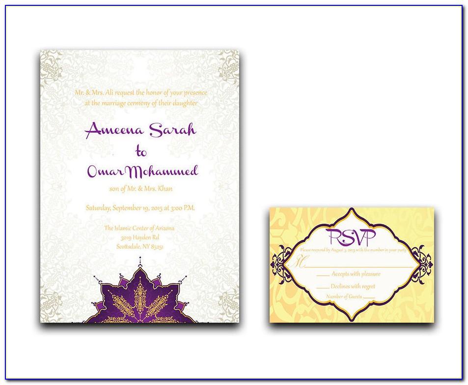 Muslim Nikah Invitation Cards Template