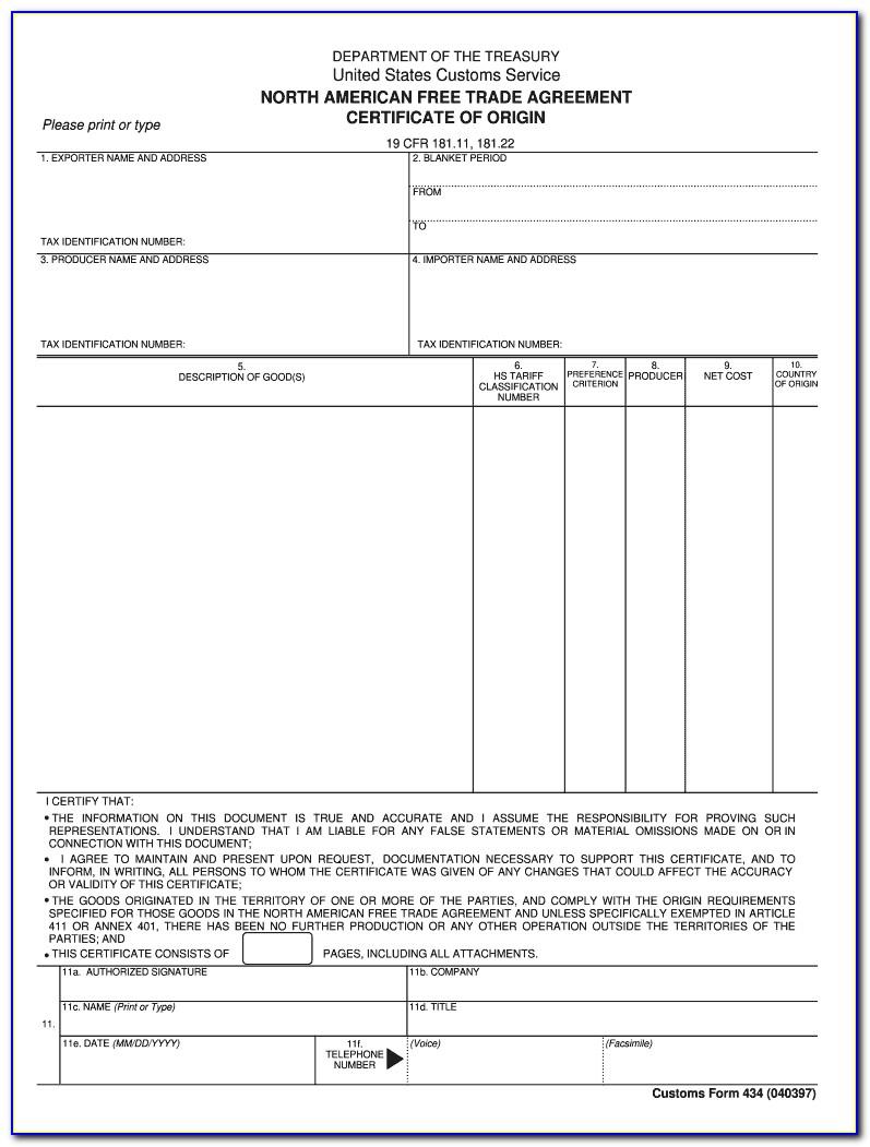 Nafta Certificate Of Origin Canada