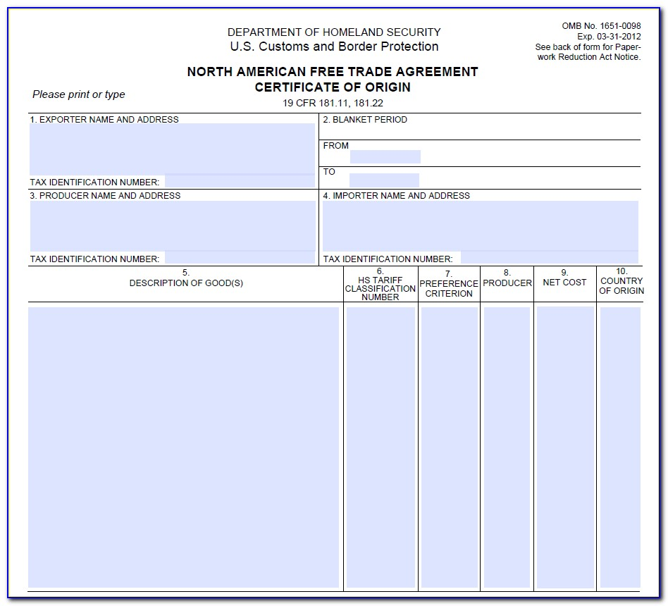 Nafta Certificate Of Origin Fedex