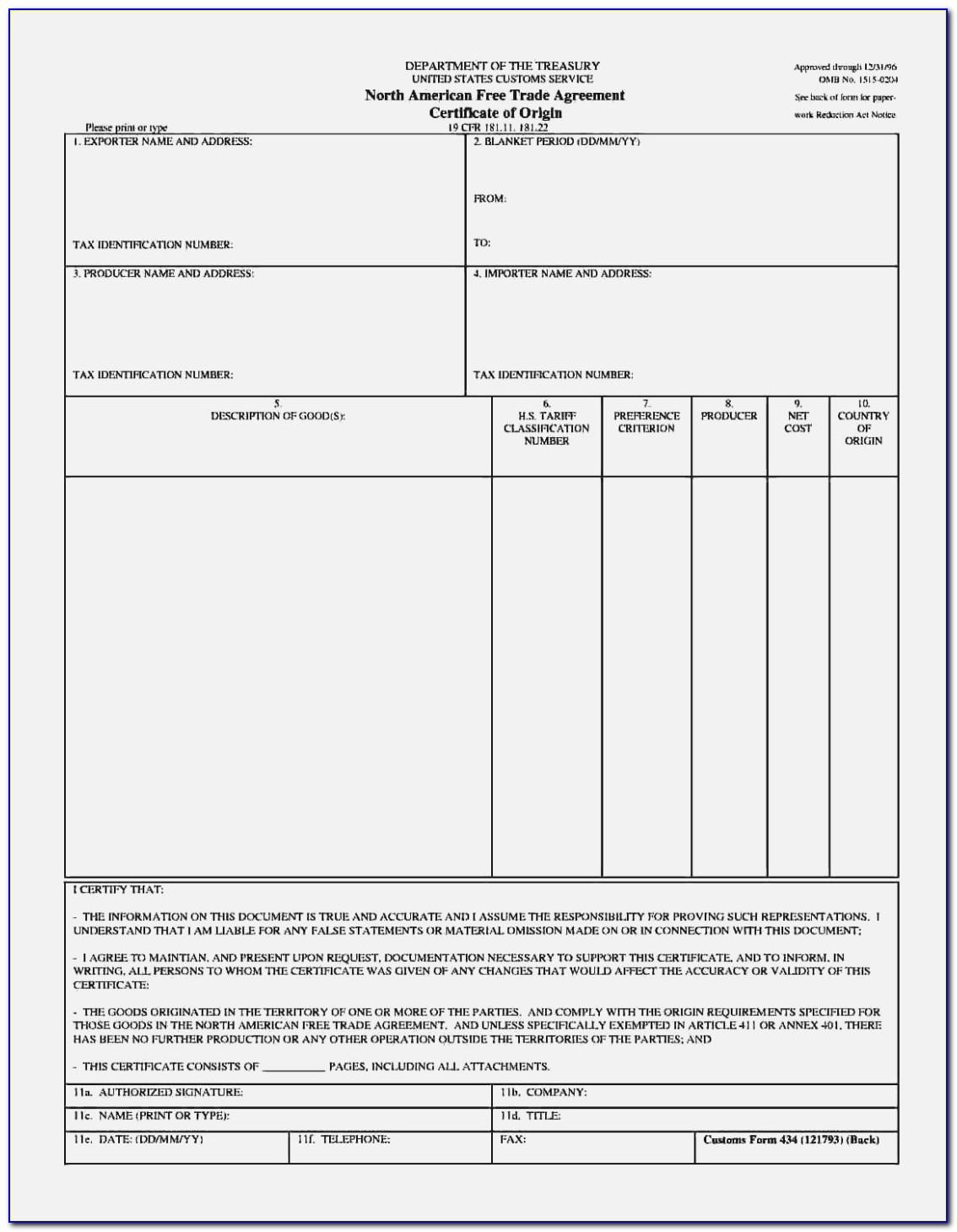 Nafta Certificate Of Origin Form Canada