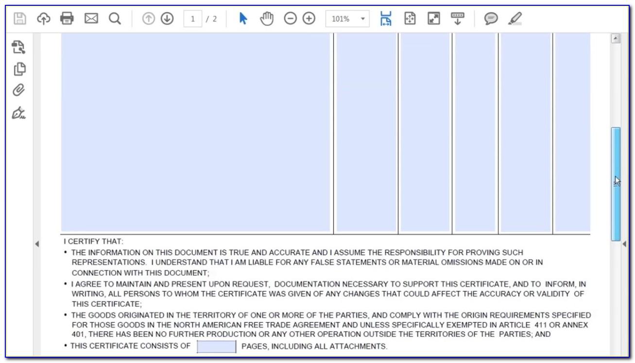 Nafta Certificate Of Origin Producer