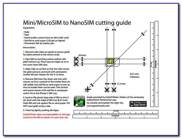 Nano Sim Card Cutting Template Pdf