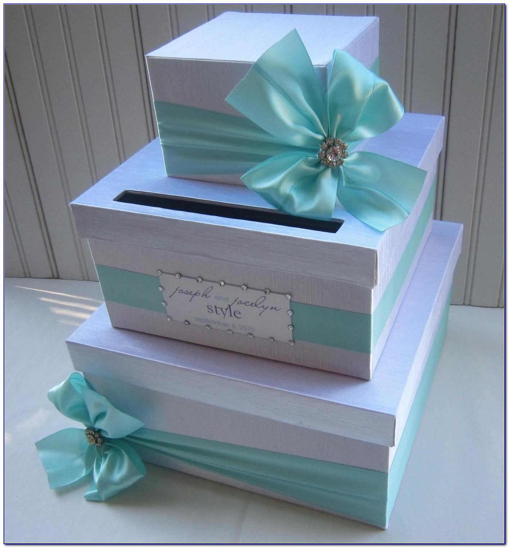 Navy And Silver Wedding Card Box