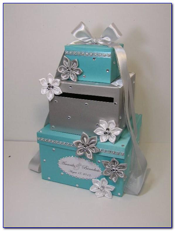 Navy Blue And Silver Wedding Card Box