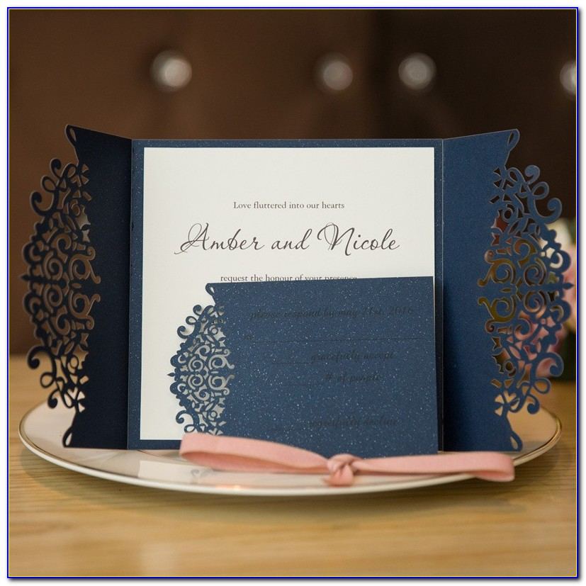 Navy Blue Wedding Invitation Cards