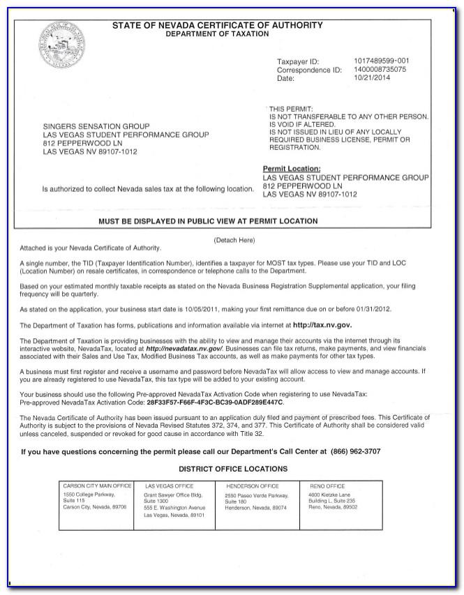 Nevada Resale Certificate Sample