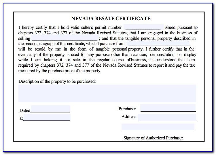 Nevada Resale Certificate Search