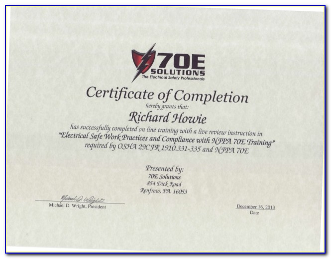 Nfpa 70e Certification Online