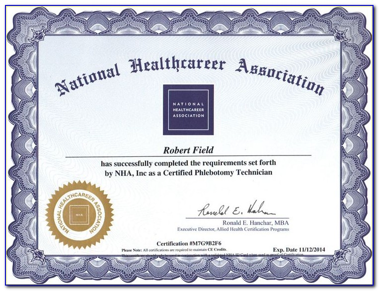 Nha Phlebotomy Certification Renewal