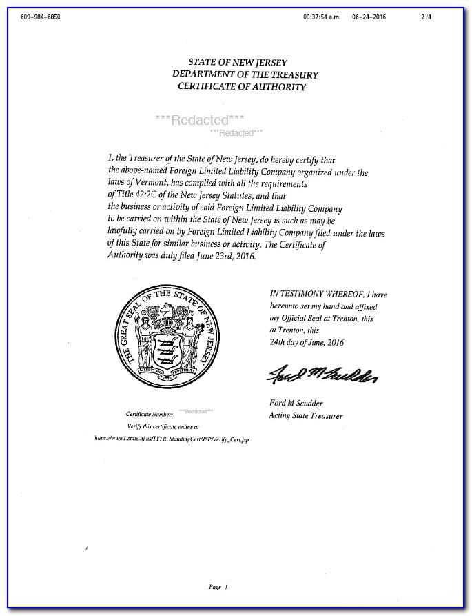 Nj Resale Certificate 2020