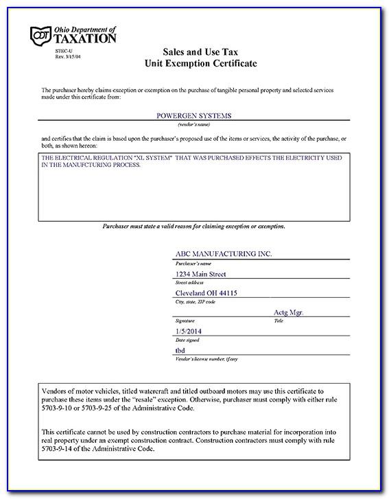 Ohio Blanket Resale Exemption Certificate