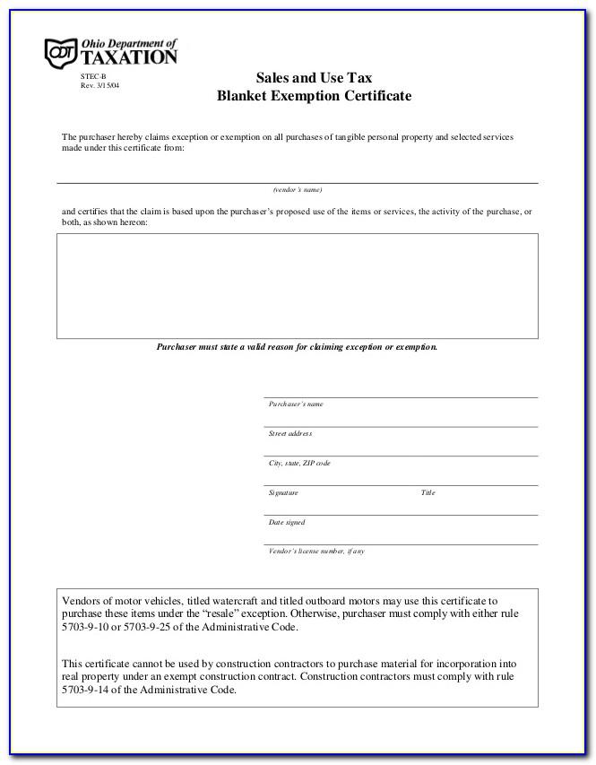 Ohio Resale Certificate Example