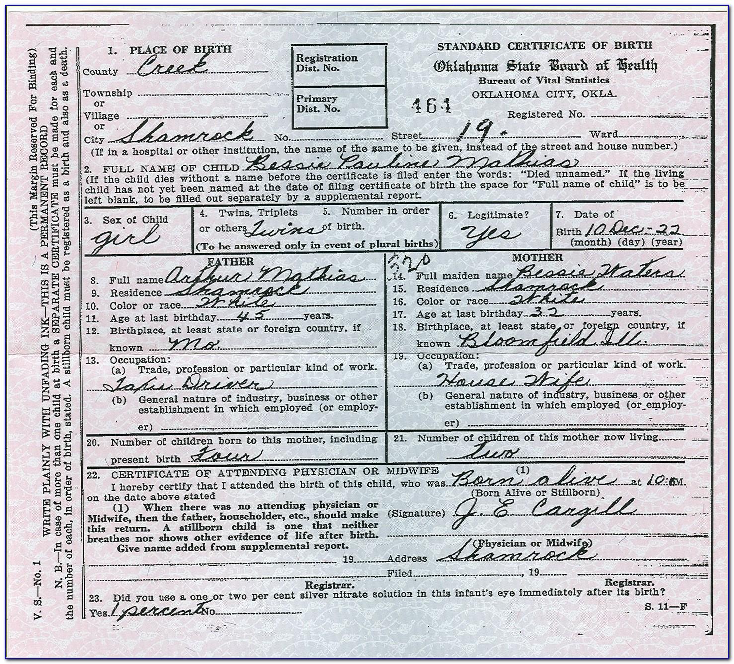 Ok Birth Certificate Office