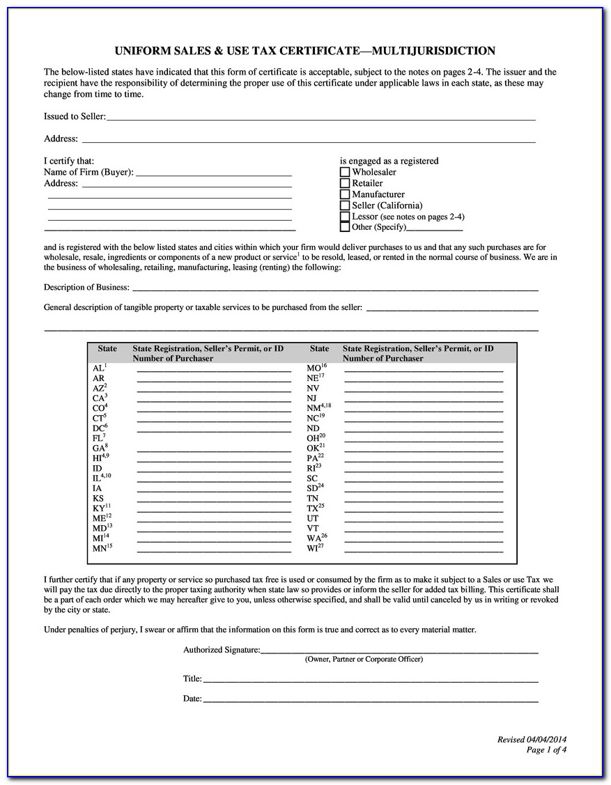 Oklahoma Resale Certificate Pdf