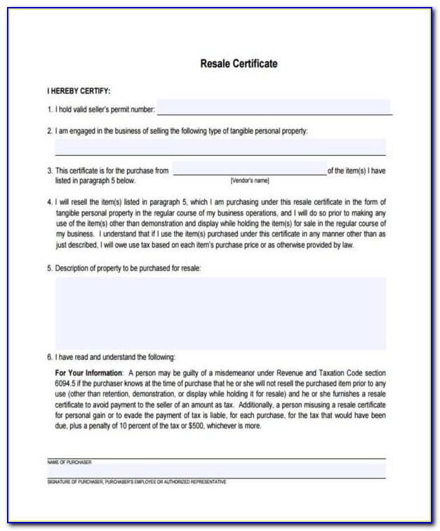 Oklahoma Resale Certificate Printable