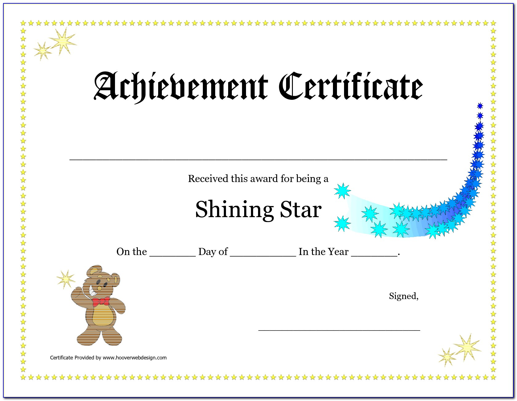 Online Printable Certificate Of Achievement