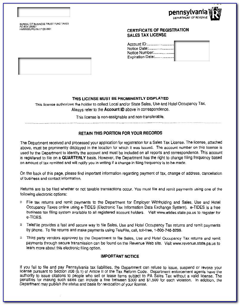 Oregon Business Resale Certificate
