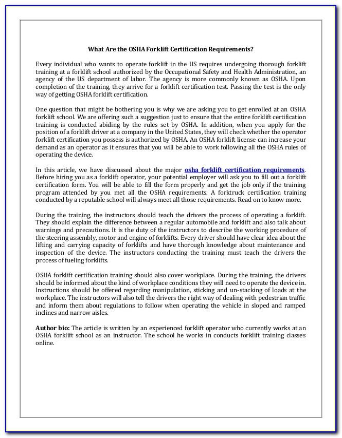 Osha Forklift Training Certification Requirements