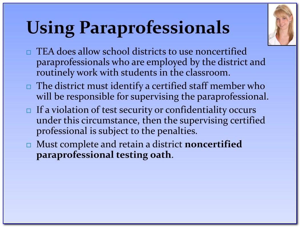 Paraprofessional Certificate Texas