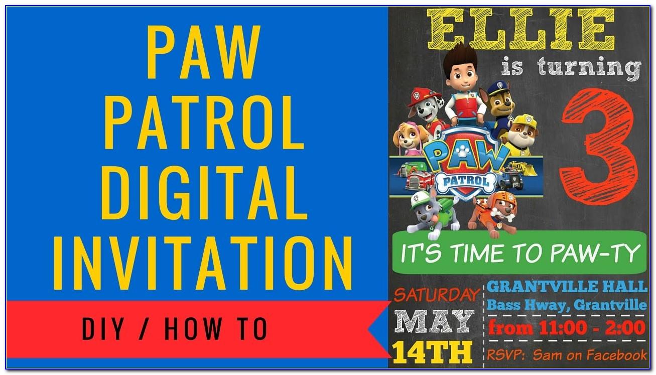 Paw Patrol Birthday Invitation Cards
