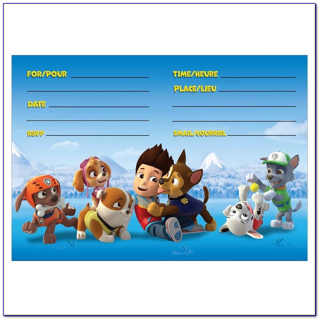 Paw Patrol Invitation Card Layout