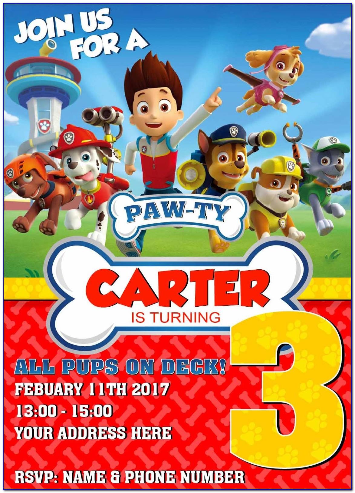 Paw Patrol Invitation Cards