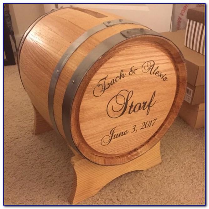 Personalized Wine Barrel Wedding Card Holder
