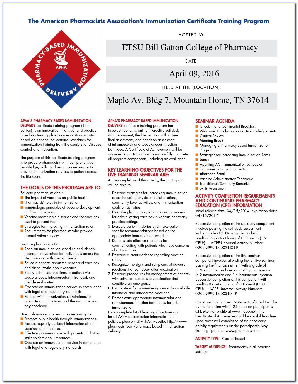 Pharmacist Immunization Certification Classes 2020