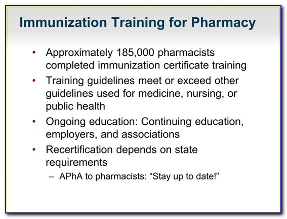 Pharmacist Immunization Certification Florida