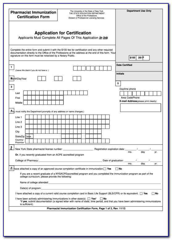 Pharmacist Immunization Certification Renewal