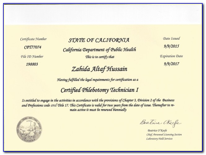 Phlebotomy License California Verification