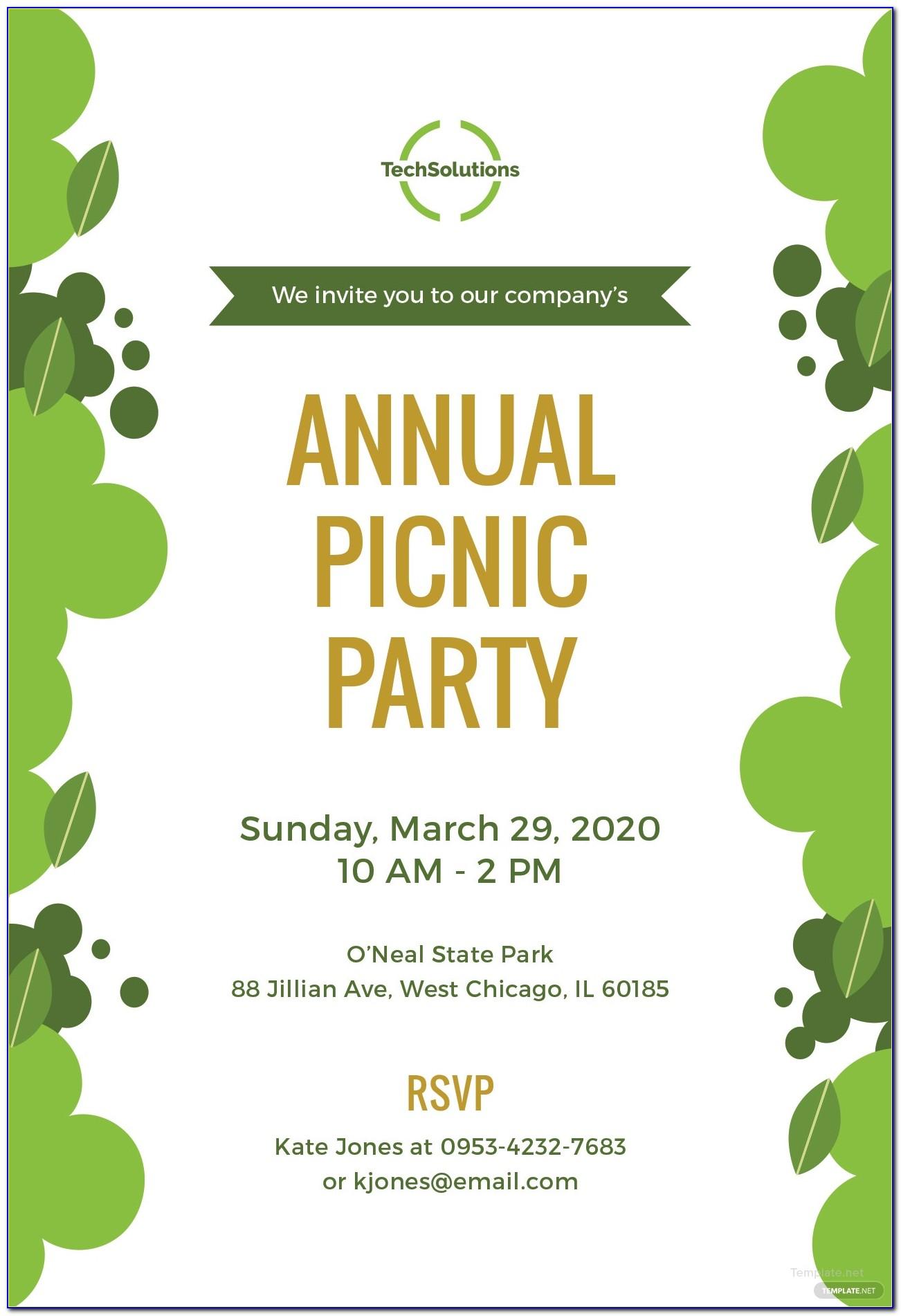 Picnic Invitation Card Design
