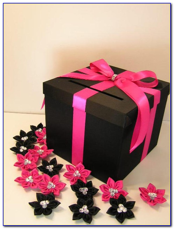 Pink And Black Wedding Card Box