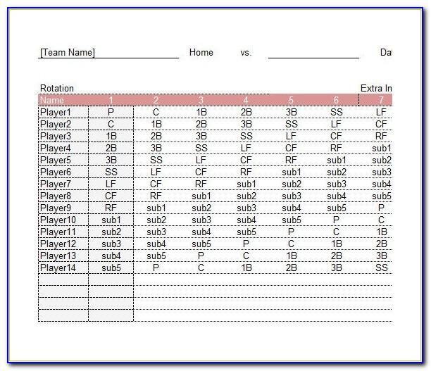 Printable Baseball Lineup Card Template